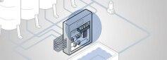 Grafische Darstellung des Details einer Wasseraufbereitungsanlage; im Zentrum dargestellt Schaltschrank Typ 8906 mit Eisenanalysator MS06