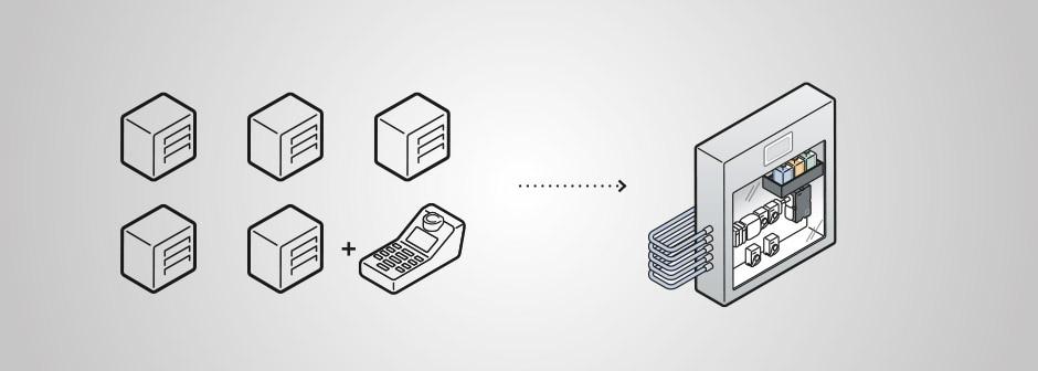 Grafische Gegenüberstellung der Komponenten einer herkömmlichen Ventilllösung versus der Bürkert-Systemlösung: Schaltschrank Typ 8906 mit Eisenanalysator MS06