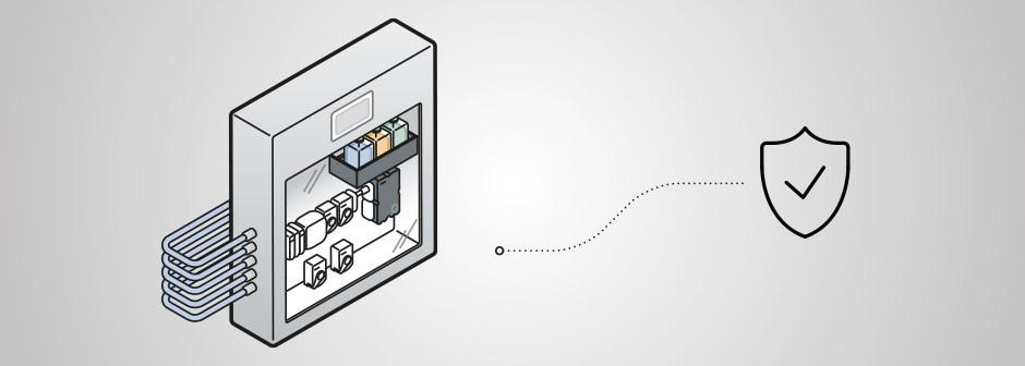 Grafische Darstellung des Schaltschranks Typ 8906 mit Eisenanalysator MS06 plus Schild mit Haken Icon